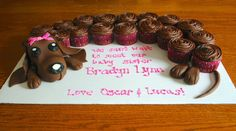 puppy dog cupcake cake | ... these cupcakes for a coworker recently wiener dog cupcakes she gave me