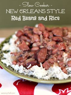 Good Ol New Orleans Red Beans and Rice!  Slow Cooker Red Beans and Rice: No soaking required!