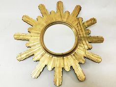 Huge Round Carved Gilt Wood Sunburst Mirror Diam 1 Meter -  -