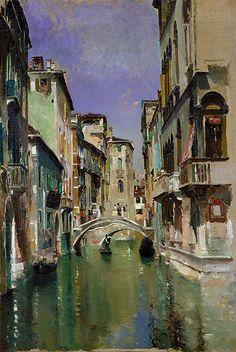 ART~ Robert Frederick Blum~ Canal In Venice~ San Trovaso Quarter, c. 1885. ~ Oil On Canvas.