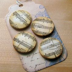 Rustic musical notes stamped magnets  4 pack  aged by Artesenias, $5.00