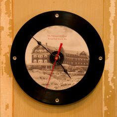 Snap Clocks-Vintage images transferred onto Cd's, mounted on 45 vinyl records and crafted into a clock!
