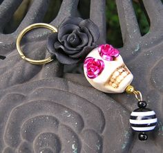 Day of the Dead Frida Inspired big Skull Fimo by shabbyskull, $8.00