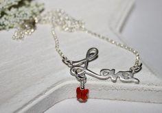 Love Necklace Rhodium Plated Cursive 925 by HoneysuckleJewelscom, $49.00