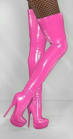 Sexy pink thigh high plateau boots
