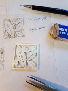 'Five gold leaves' brooch in progress, by Diana Greenwood    www.diana-greenwood.com