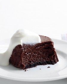 These little cakes resemble molten chocolate cakes, but are actually cheesecakes. The dessert may seem rich, but it's made with nonfat cottage cheese instead of cream cheese. Bake them in a muffin tin and let them set in the fridge before turning out onto plates.