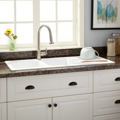 "46"" Owensboro Double-Bowl Drop-In Granite Composite Sink with Drain Board - Eggshell White - Kitchen"