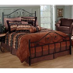 Queen size Black Metal Bed with Scrollwork Headboard and Footboard - Quality House Queen Metal Bed, Murphy-bett Ikea, Black Metal Bed, Modern Murphy Beds, Modern Beds, Modern Bedding, Dark Bedding, Luxury Bedding, Modern Contemporary
