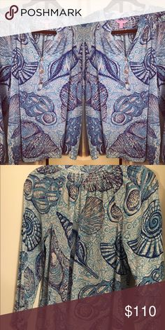 Stuffed Shells Lilly Pulitzer Elsa Size small, EUC worn once! Very rare print in the Elsa! Lilly Pulitzer Tops Blouses
