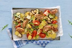 Kijk wat een lekker recept ik heb gevonden op Allerhande! Geroosterde Italiaanse kip met groenten van de bakplaat