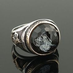 925 Sterling Silver Ottoman Ring for Men with by KaraJewelsTurkey: