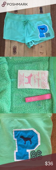 PINK VICTORIAS SECRET fav  sweats  lounge shorts L AUTH PINK VICTORIAS SECRET BRAND My favorite sweats vintage style green lounge shorts WMNS SZ L $49 Sold out, rare and super hot and cute! Condition: gently worn/washed 3-4x-TONS of wear left; see photos for specific detail embroidered PINK logo on back  Made in Sri Lanka Open to all REASONABLE offers-COMBINED SHIPPING DISCOUNT FOR MULTIPLE ITEMS. All items come from a CLEAN, SMOKE-FREE home PINK Victoria's Secret Intimates & Sleepwear…