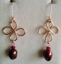 Celtic drop earings with Pearl n Ruby