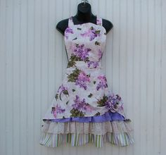 Womans Floral Apron with Ruffles and Lace by KozyKitchens on Etsy, $26.00