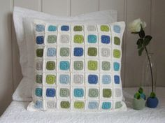 Crochet pillow cover modern geometric patchwork by Ohprettypretty, $59.00