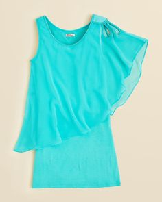 Aqua blue dress with 1 winged sleeve sally miller dress <3