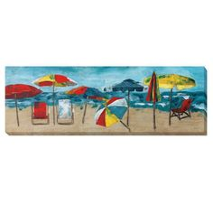 Take a mini vacation every time you look at this vibrantly detailed seascape. Feel the salty breeze as the festive umbrellas dance across the painted shore of this gallery-wrapped canvas.