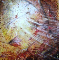 FOGLIE AL VENTO acrilico su tavola, cm. 100 x 100 pezzo unico con certificazione di autenticità disponibile www.soniazaffoniartista.it