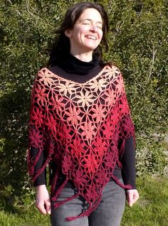 Red Poncho Flower Crochet Lace poncho on sale at Etsy.