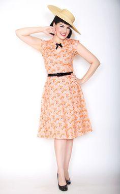 Foxy Print Pin Up Dress by Bernie Dexter