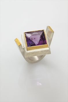 Silver and 24ct Gold Ring with Amethyst by Josef Koppmann. If you are looking to commission a wedding ring or engagement ring be sure to try our Gift Guru. We can introduce you to some fab new makers and offer advice. Call 01142216494 ever Wednesday or go to our website for the online service.