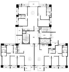 Architecture Panel, Concept Architecture, Residential Architecture, Architecture Design, Townhouse Apartments, Building Layout, Apartment Floor Plans, Pent House, Planer