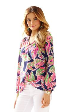 Elsa Top - In The Vias - Lilly Pulitzer Bright Navy In The Vias