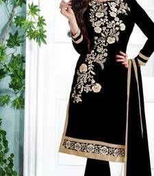 Buy Black cotton embroidered semi stitched salwar with dupatta cotton-salwar-kameez online