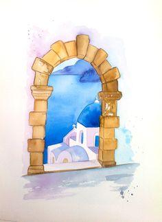 """original greek watercolor 8"""" x12"""" santorini"""