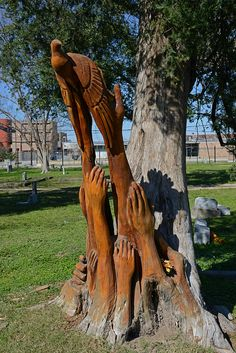 Carvings in dead portion of a cypress tree ~ College Park Cemetery, Houston, Texas