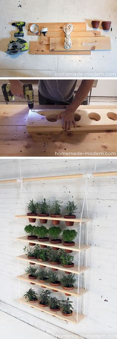 Cool Indoor and Outdoor Vertical Garden Ideas 2017 - Garden - DIY Hanging Herb Garden Best Picture For growing indoor plants from seed For Your Taste You are l - Garden Projects, Wood Projects, Backyard Projects, Garden Mall, Herbs Indoors, Garden Inspiration, Style Inspiration, Organic Gardening, Herb Gardening