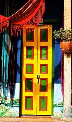 ₪portas - Yellow Door in Raquira, Colombia! Cool Doors, Unique Doors, When One Door Closes, Yellow Doors, Door Knockers, Closed Doors, Doorway, Stairways, Windows And Doors