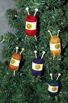You could also put a crochet hook in it.make mini's and make your crochet hooks or knitting needles from polymer clay ! A Fast and Easy Yarn-Themed Ornament Felt Christmas Decorations, Crochet Christmas Ornaments, Christmas Knitting, Christmas Tree Ornaments, Ornament Crafts, Christmas Projects, Holiday Crafts, Christmas Crafts, Diy Ornaments