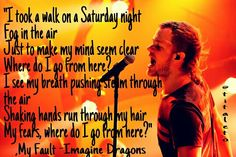 """I took a walk on a Saturday night Fog in the air Just to make my mind seem clear Where do I go from here? I see my breath pushing steam through the air Shaking hands run through my hair My fears, where do I go from here?"", My Fault -Imagine Dragons"