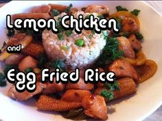 Recipe video for lemon chicken with an egg fried rice mountain