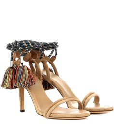 Isabel Marant - Aura tasselled suede sandals - Crafted in Italy from sublimely soft suede, Isabel Marant's 'Aura' sandals are the ultimate choice in bohemian, summer footwear. Chunky laces wrap around the ankles and are finished with oversized multicoloured tassels for dose of carefree attitude. Let the classic camel hue up the cool factor of pretty dresses. seen @ www.mytheresa.com
