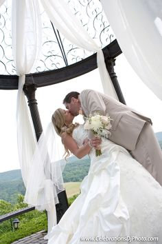 Gorgeous #BrideandGroom portrait under the gazebo! #gazebowedding #weddingphotography #lehighvalley #centralpa #berkscounty #poconos #celebrationspa #stroudsmoorcountryinn www.celebrationsdjphoto.com