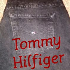 """""""Boyfriend"""" Tommy Hilfiger over dyed BLACK jeans. Pics show them lighter than actual dark black. Straight leg.  29"""" inseam....11"""" rise. Only worn a few times. Very good condition. Tommy Hilfiger Jeans Straight Leg"""