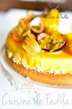 Tarte exotique - cuisine de Fadila Biscuits, Tart Recipes, Panna Cotta, French Toast, Pudding, Breakfast, Occasion, Ethnic Recipes, Cheesecakes