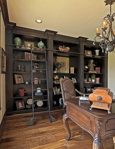 Floor to ceiling built-in bookcase & display cases with library ladder.