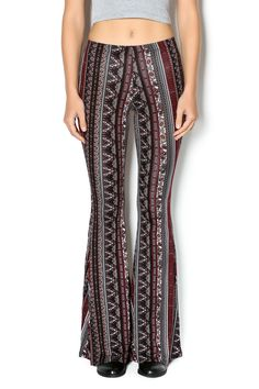 Burgundy and black printed bell bottoms. Pull on style pants that flare out at the knee.  Print Bell Bottom Pants by Promesa. Clothing - Bottoms - Pants & Leggings - High-Waisted Clothing - Bottoms - Pants & Leggings - Flare & Wide Leg Pennsylvania