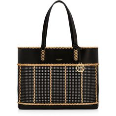 Henri Bendel Belport Woven Beach Tote (1,770 CNY) ❤ liked on Polyvore featuring bags, handbags, tote bags, black, woven beach tote, perforated leather tote, perforated tote bag, woven tote bags and leather tote