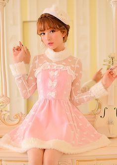 Candy Rain Japanese original 2014 new winter sweet princess bow flounced lace dress female - Taobao