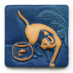Indigo dreams Handmade ceramic tiles by Gretchen Kramp Tile Art, Ceramic Sculpture, Animal Art, Art Nouveau Tiles, Clay Art, Ceramics, Cat Art, Art, Pottery Art