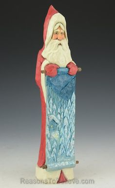 9 inch Santa with Winter Cabin Scene