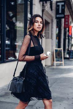 VivaLuxury - Fashion Blog by Annabelle Fleur: SHOP VIVALUXURY ON VESTIAIRE COLLECTIVE - Saint Laurent booties, REDValentino dress, studded Saint Laurent bag September 30, 2015