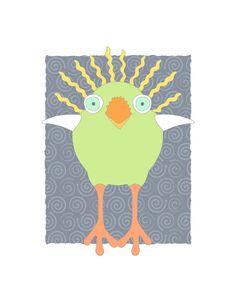 Funny bird art print modern animal illustration por KristinParsons