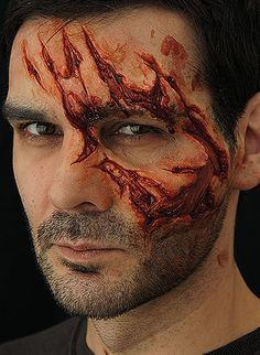 Animal Attack Prosthetic from Nimba Creations; The perfect prosthetic to simulate a zombie or werewolf attack. This gory open wound shows torn flesh, muscle, fat and even bone as the wound penetrates right down to the skull!; $42.64