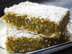 Raw vegan orange pistachio bars